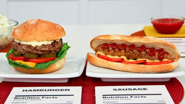 Which is the better choice: burger or sausage?
