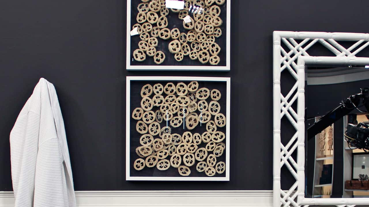 Two frames hung on a bathroom wall. Inside the frames are multiple circles of dried loofahs that look like abstract art.
