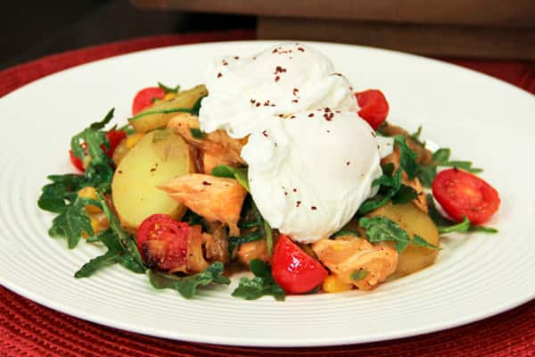Poached Eggs With Salmon Hash.