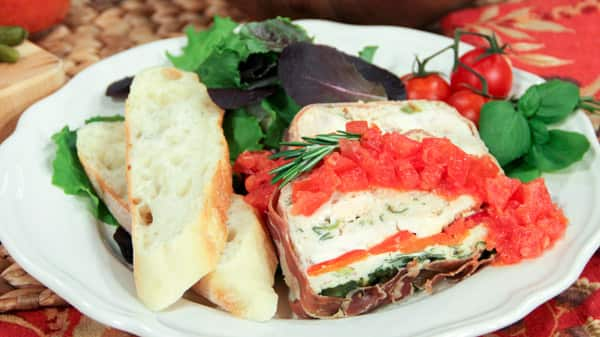 Prosciutto Wrapped Chicken Terrine with Tomate Jaleo