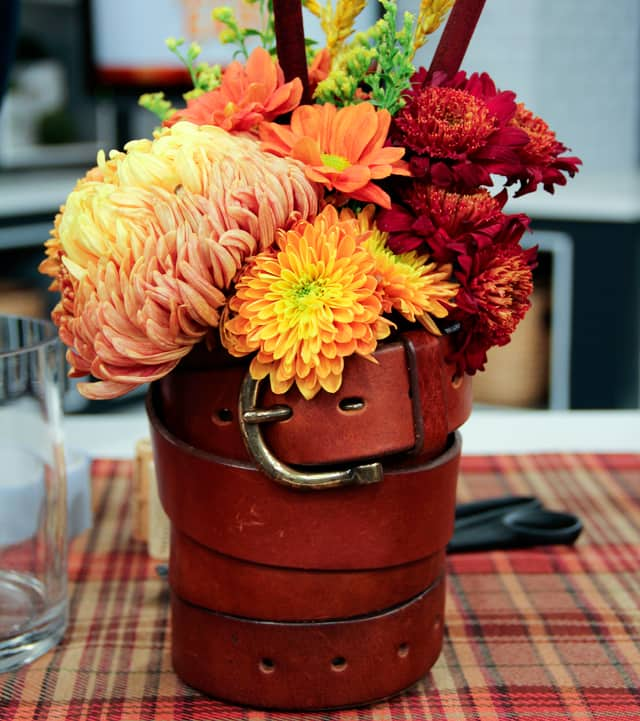 5 Ways to Repurpose Leather Belts: Vase Cover