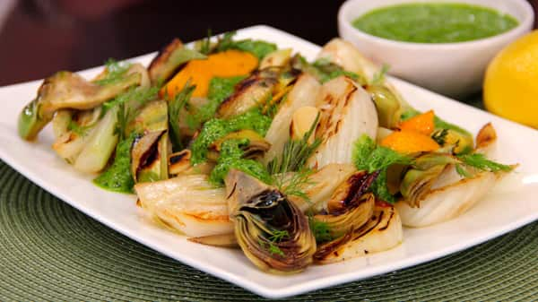 Roasted Artichokes & Fennel with Parsley Pesto