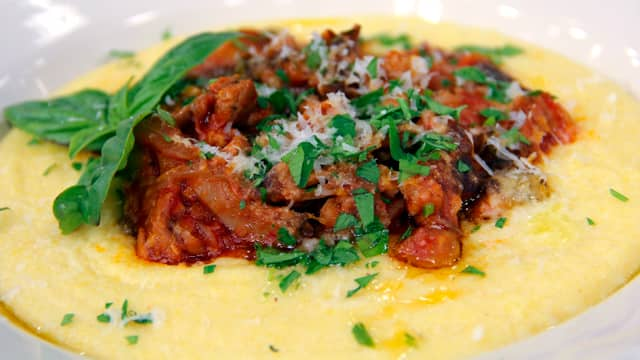 Sausage and Mushroom Ragout with Soft Polenta by Chef Joshna Maharaj
