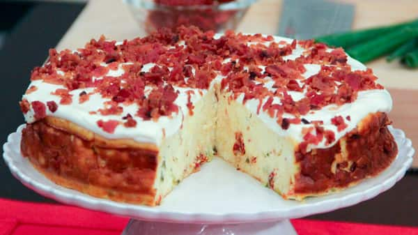 Savoury Cheesecake With Crumbled Bacon Topping
