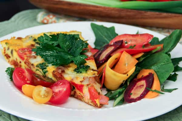 Lynn Crawford's spicy chorizo and tomato frittata with farm-fresh eggs.