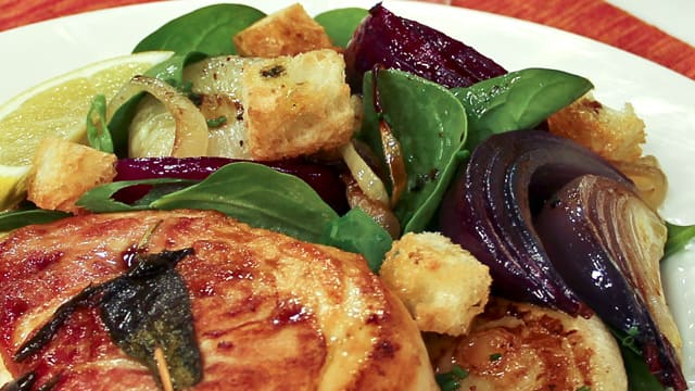 Spinach and Roasted Onion Salad by Chef Ricardo Larrivee