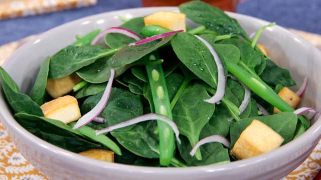 Spinach Salad with Warm Miso Dressing by Angela Warburton
