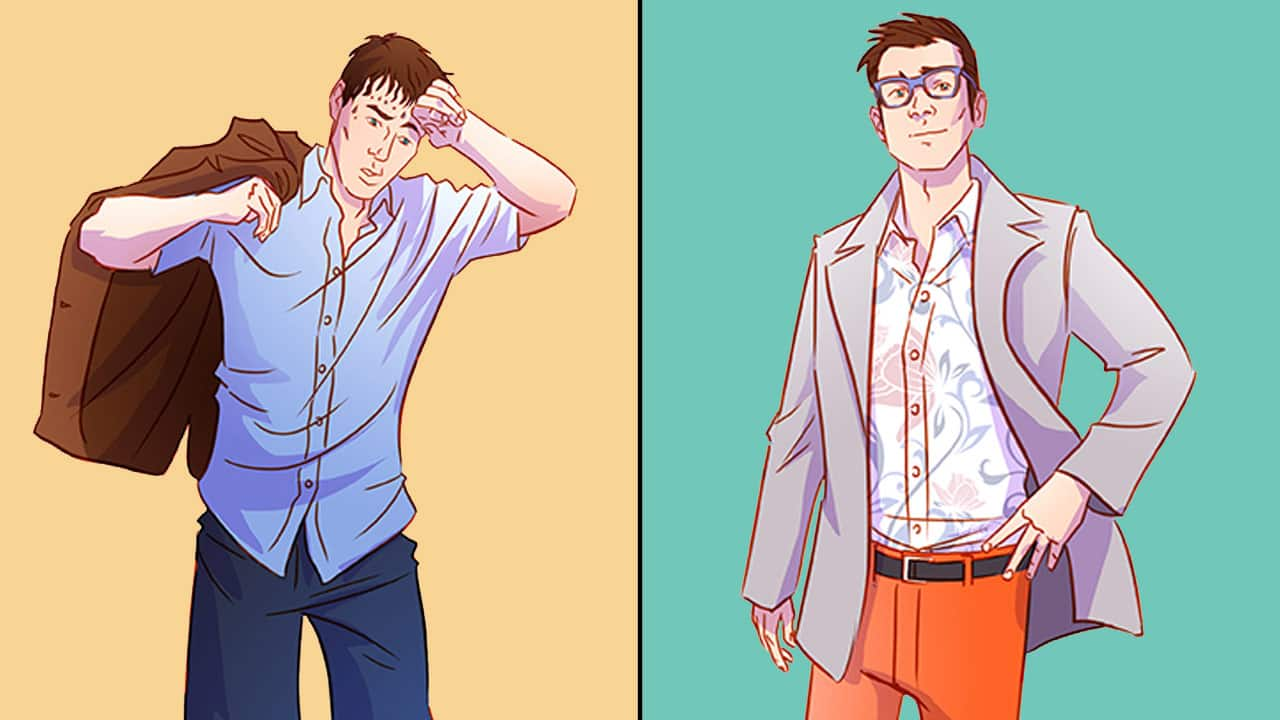 Cartoon man sweating on the left, stylish, confident man on the right