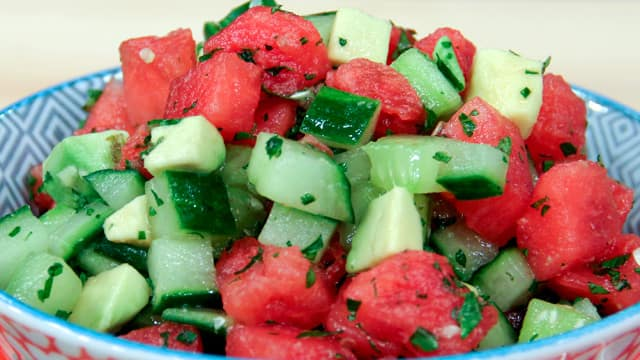 Peggy K's watermelon and cuke salad for belly bloating