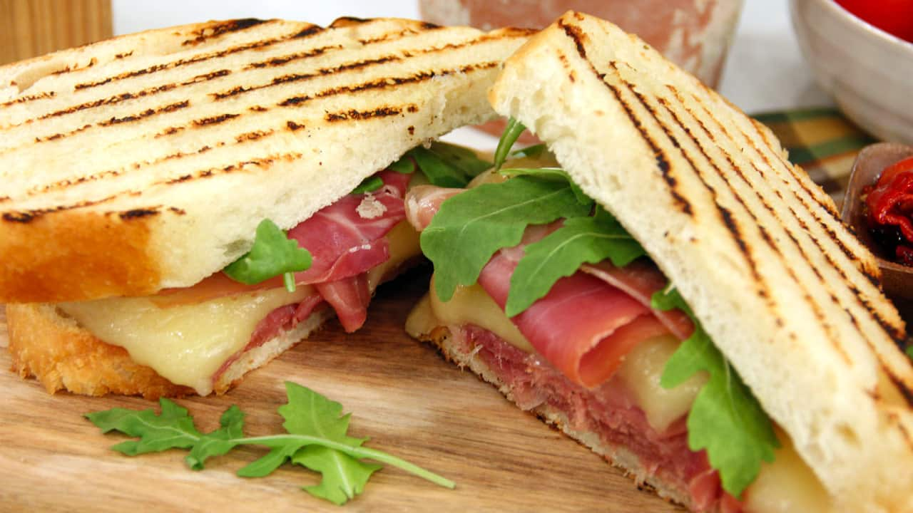 Warm grilled prosciutto sandwich