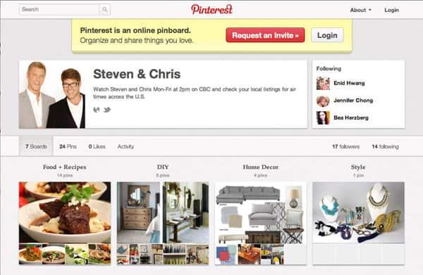 Steven and Chris' Pinterest boards.