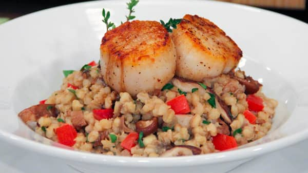 Wild Mushroom Barley Risotto with Scallops