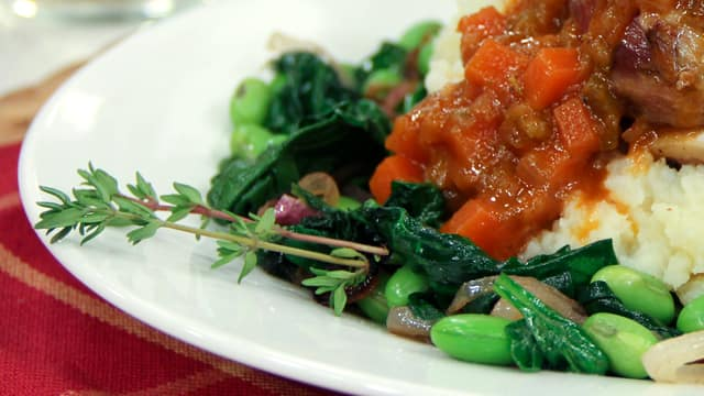 Wilted Greens with Edamame by Chef Jonathan Collins
