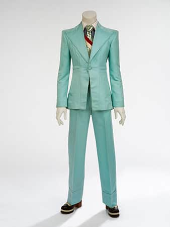 Ice-blue suit, 1972, designed by Freddie Burretti for the