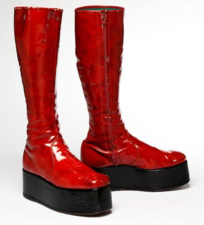 Red platform boots for the 1973 Aladdin Sane tour