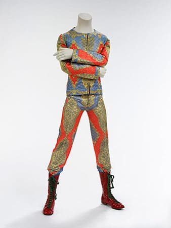 Quilted two-piece suit, 1972, designed by Freddie Burretti for the Ziggy Stardust tour
