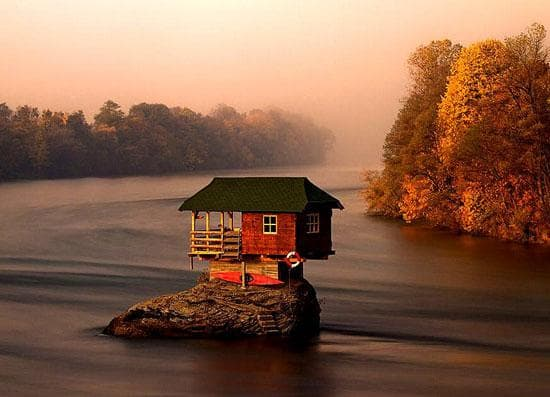Tiny House in the Drina River in Serbia.jpg