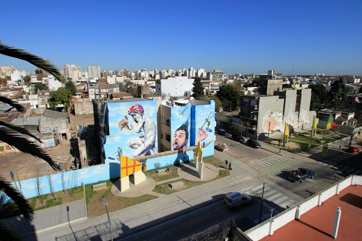 Giant murals in Villa Urquiza Art District, Buenos Aires