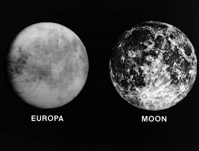 Europa is slightly smaller than our moon