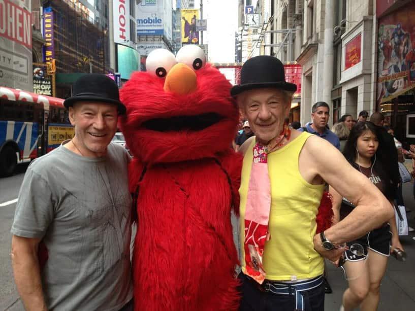 Patrick Stewart, Elmo and Ian McKellan