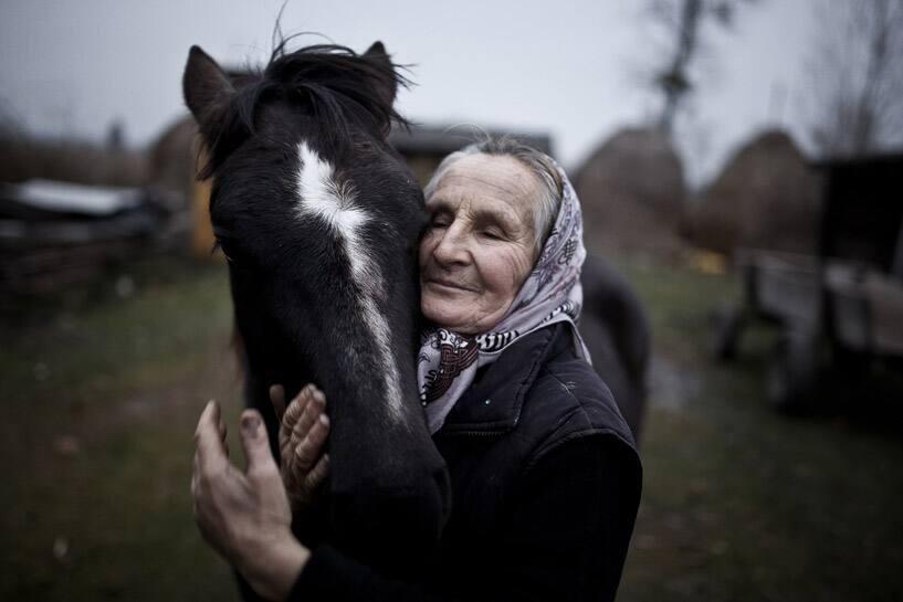 The inhabitant of Szack of Ukraine and her horse (National: Poland)
