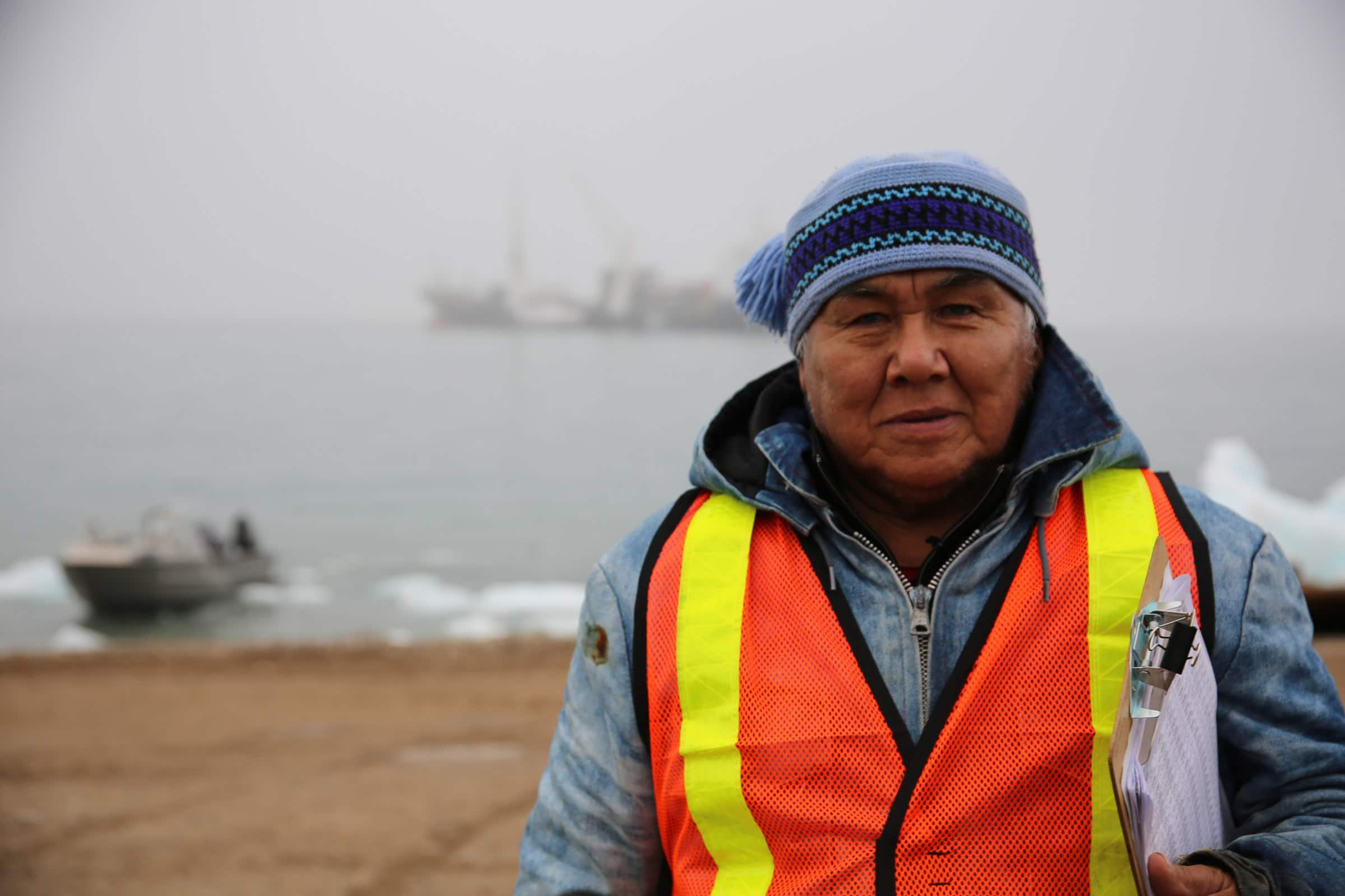 Larry Audlaluk, an original resident of Grise Fiord, is an integral part of the sealift from the community side.