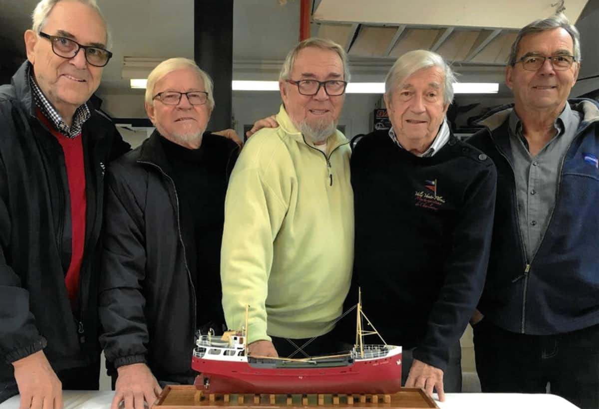 (l-r) Captain Yvan Desgagnés, Chief Engineer Zélada Desgagnés, Captain Rosaire Desgagnés, Captain Claude Desgagnés and Captain Marcellin Desgagnés. 3/5 were aboard the first voyage of a Desgagnés vessel Aigle D'Océan to the Arctic in 1966. The Master of the vessel was Yvan, Marcellin was the first officer and Zélada was the Chief Engineer. All were in their late 20s on that first voyage.