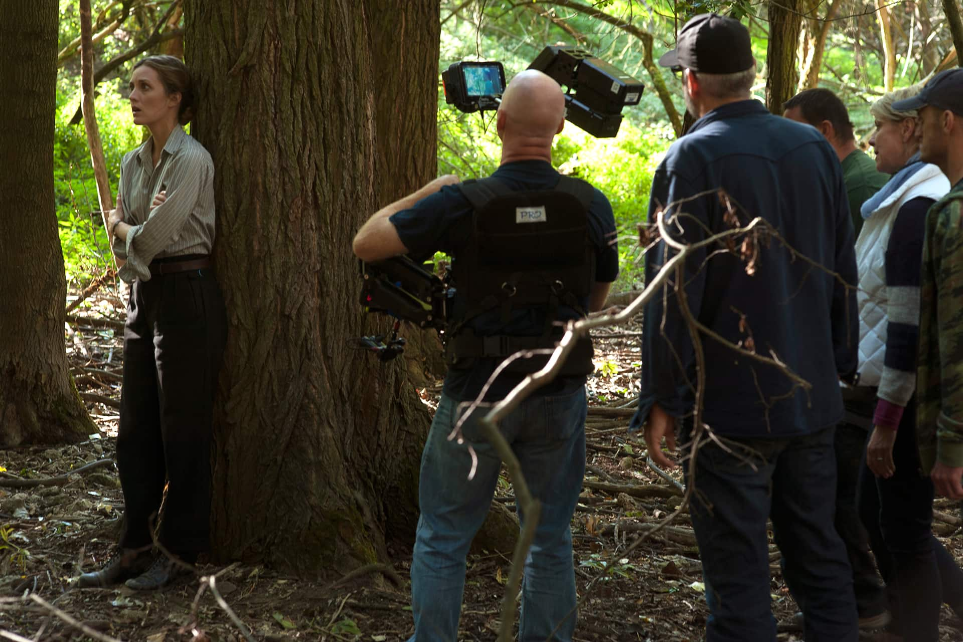 Evelyne Brochu and crew working on a particularly tough emotional scene for Aurora.