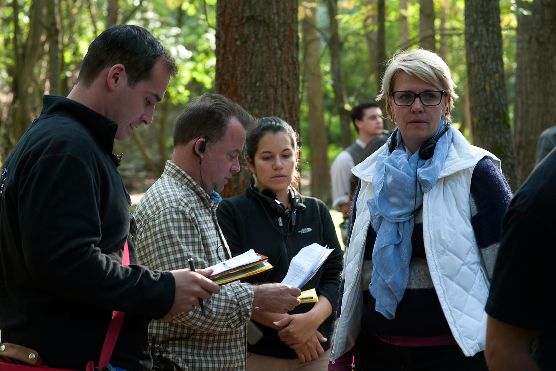 Director Amanda Tapping and the AD team including Marcel Saumure, Nicholas Vandal and Emese Matuze on the set.