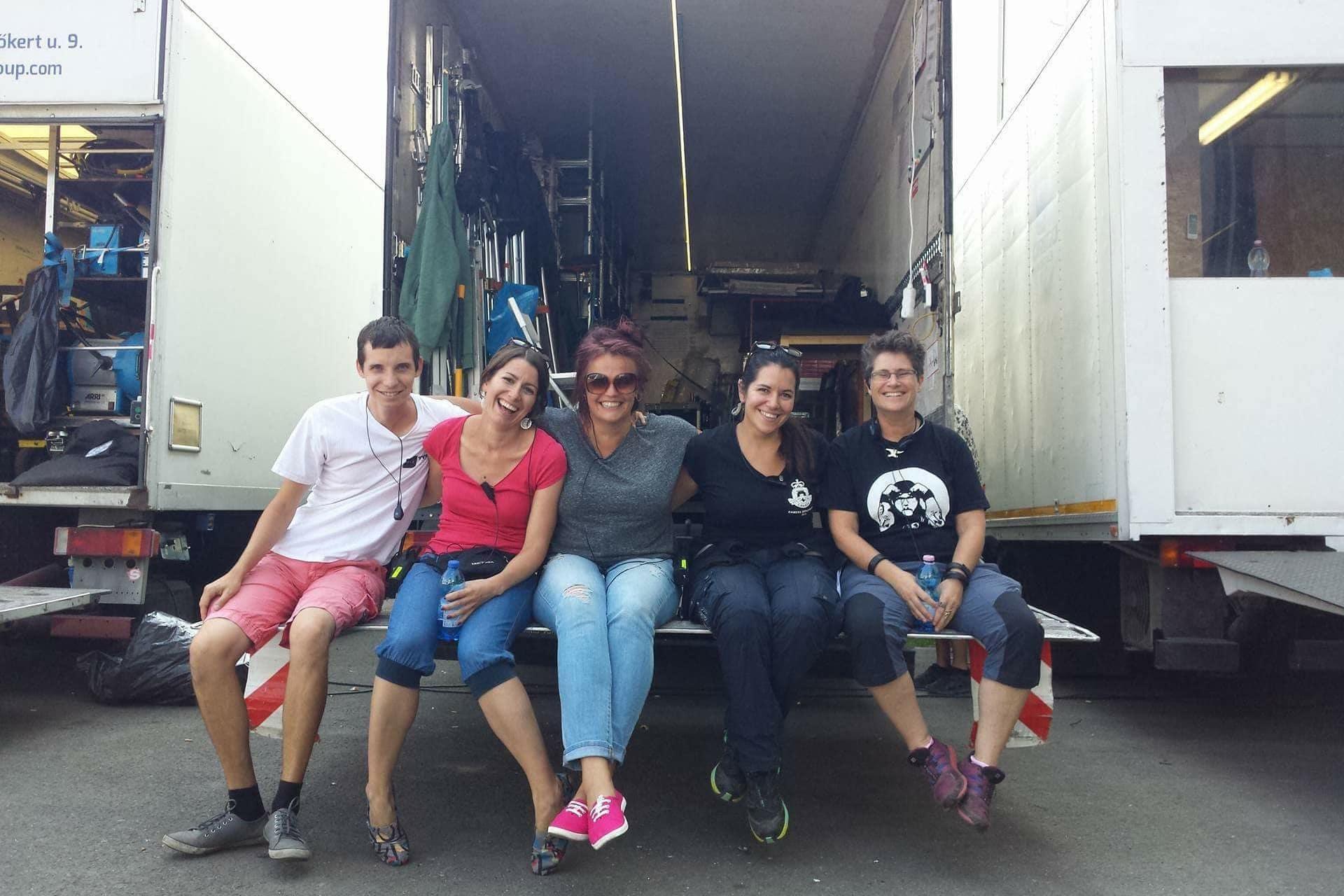 Behind the scenes on the set of X Company Season 3 with AD Team (L to R) Máté György, Réka Kovács, Dominika Jurek, Emese Matuz and Sorcha Vasey.