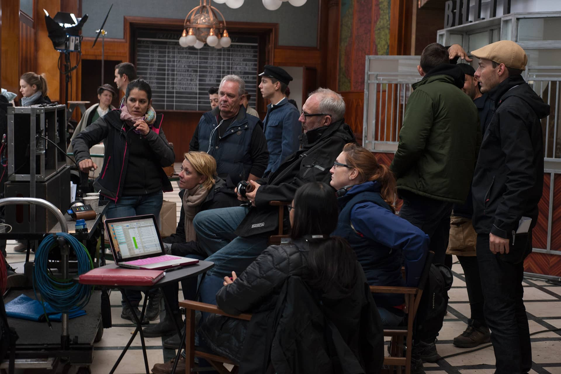 At video village on the set of X Company Season 3 with Director Amanda Tapping, AD Emese Matuz, Producer John Calvert, DOP Michael Marshall, Writer-Producer Julie Puckrin and Script Supervisor Winnie Jong.