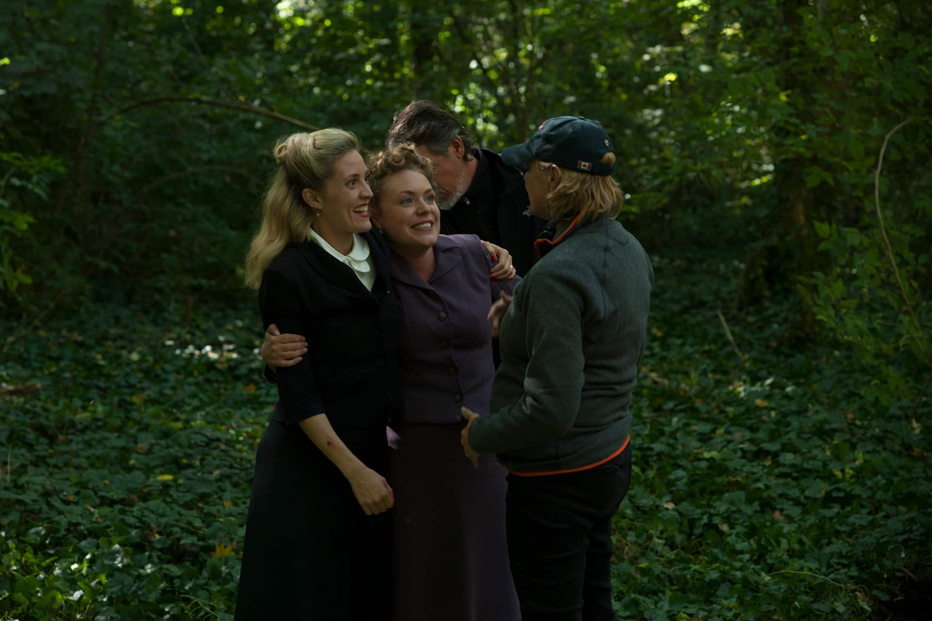 Behind the scenes on the set of X Company Season 3 with Evelyne Brochu (Aurora), Madeleine Knight (Heidi) and Director Amanda Tapping.