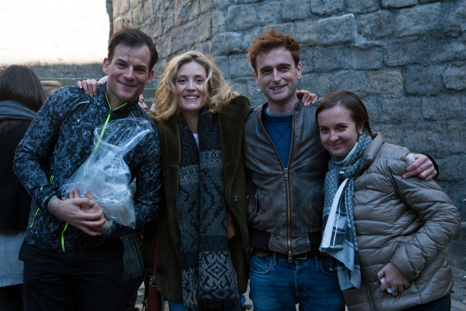 Behind the scenes on the set of X Company Season 3 with Torben Liebrecht (Faber), Evelyne Brochu (Aurora), Jack Laskey (Alfred) and Production Coordinator (Hungary) Marcsi Tóth.