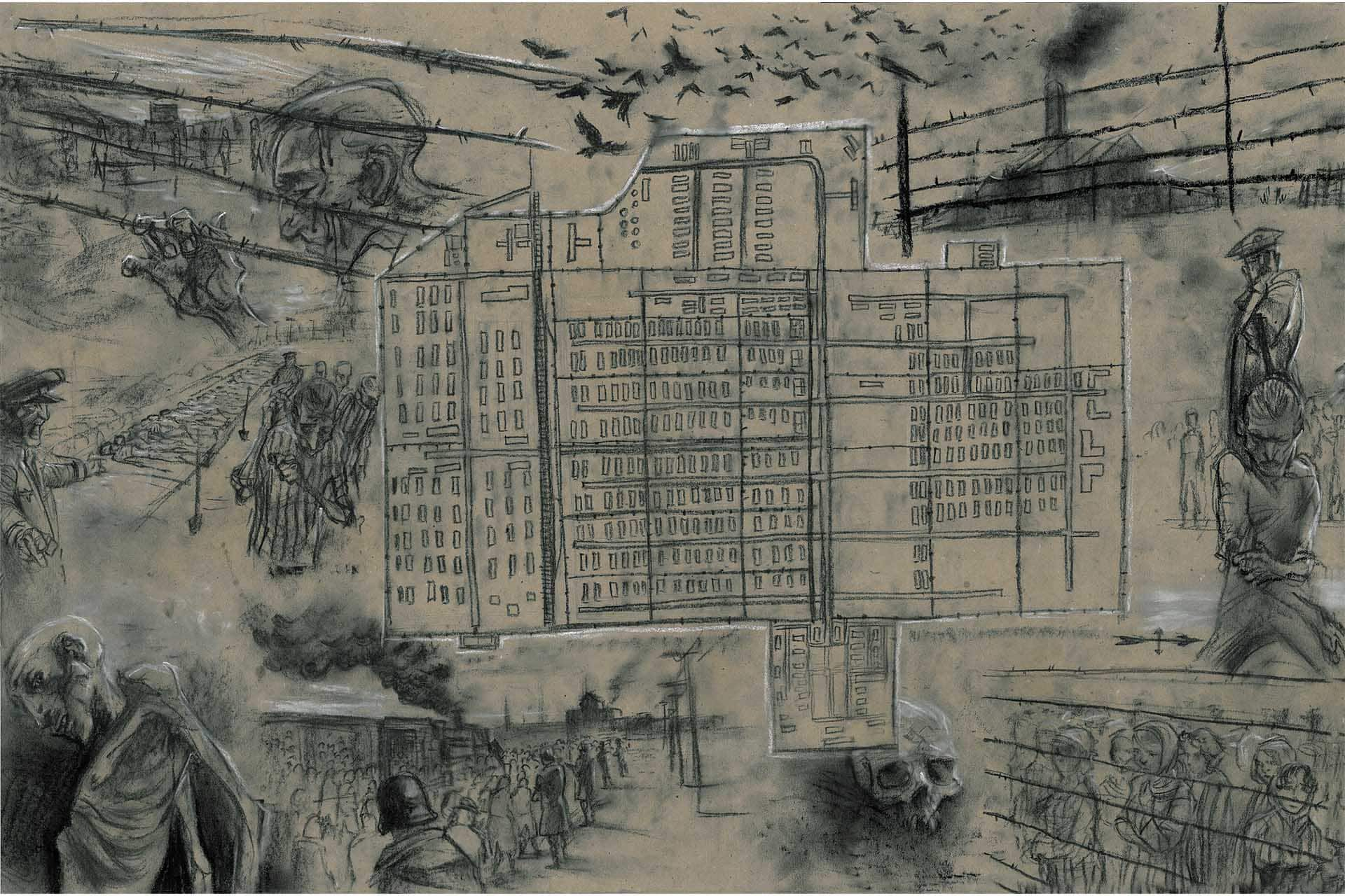 Drabek was an escapee of a concentration camp. These are his drawings.