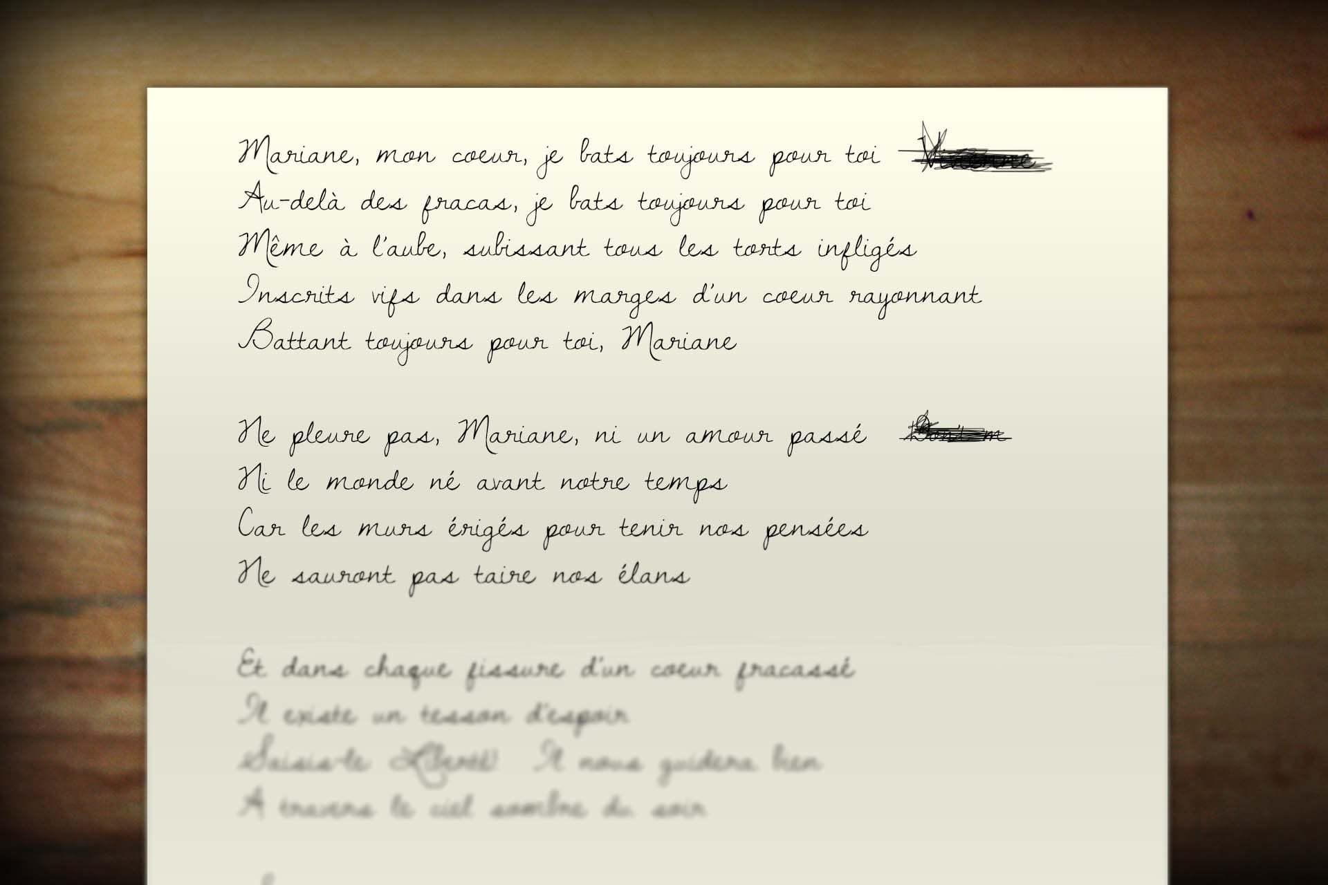Propaganda was converted to the language of the region. As this poem was to be dropped over Paris, it was translated to French.