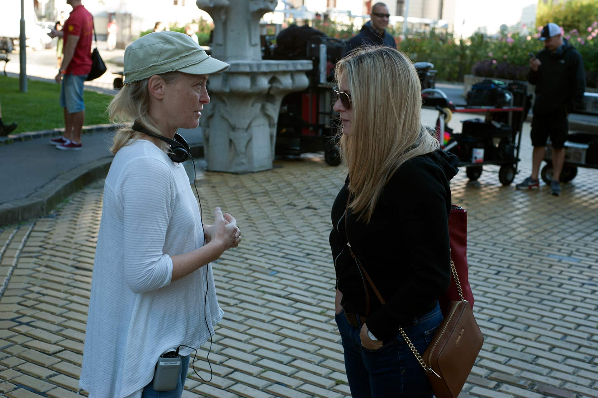 Co-creator and Executive Producer Stephanie Morgenstern with Unit Publicist Beverly Warren on the set of X Company Season 3.