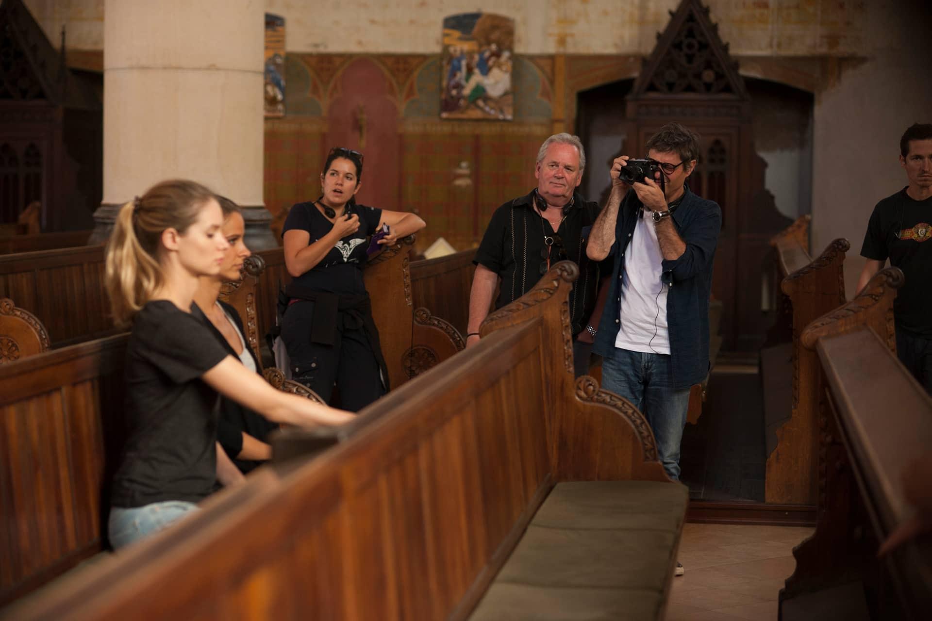 (L to R) 3rd AD Emese Matuz, Producer John Calvert, Director Paolo Barzman with Stand-ins Izabella Szabadkai and Patricia Hegedüs on the set of X Company Season 3.