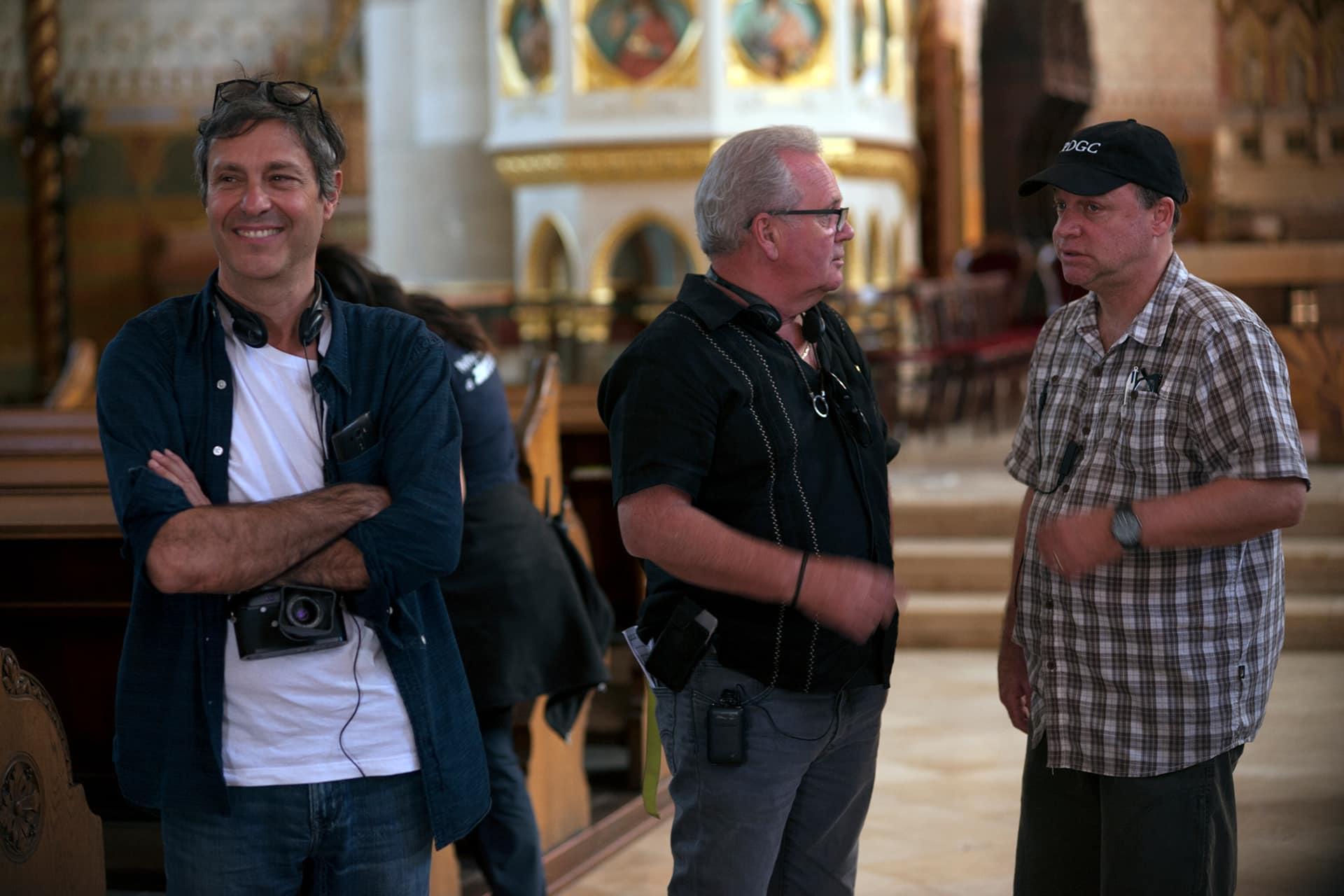 Director Paolo Barzman, Producer John Calvert and 1st AD Marcel Saumure on the set of X Company Season 3.