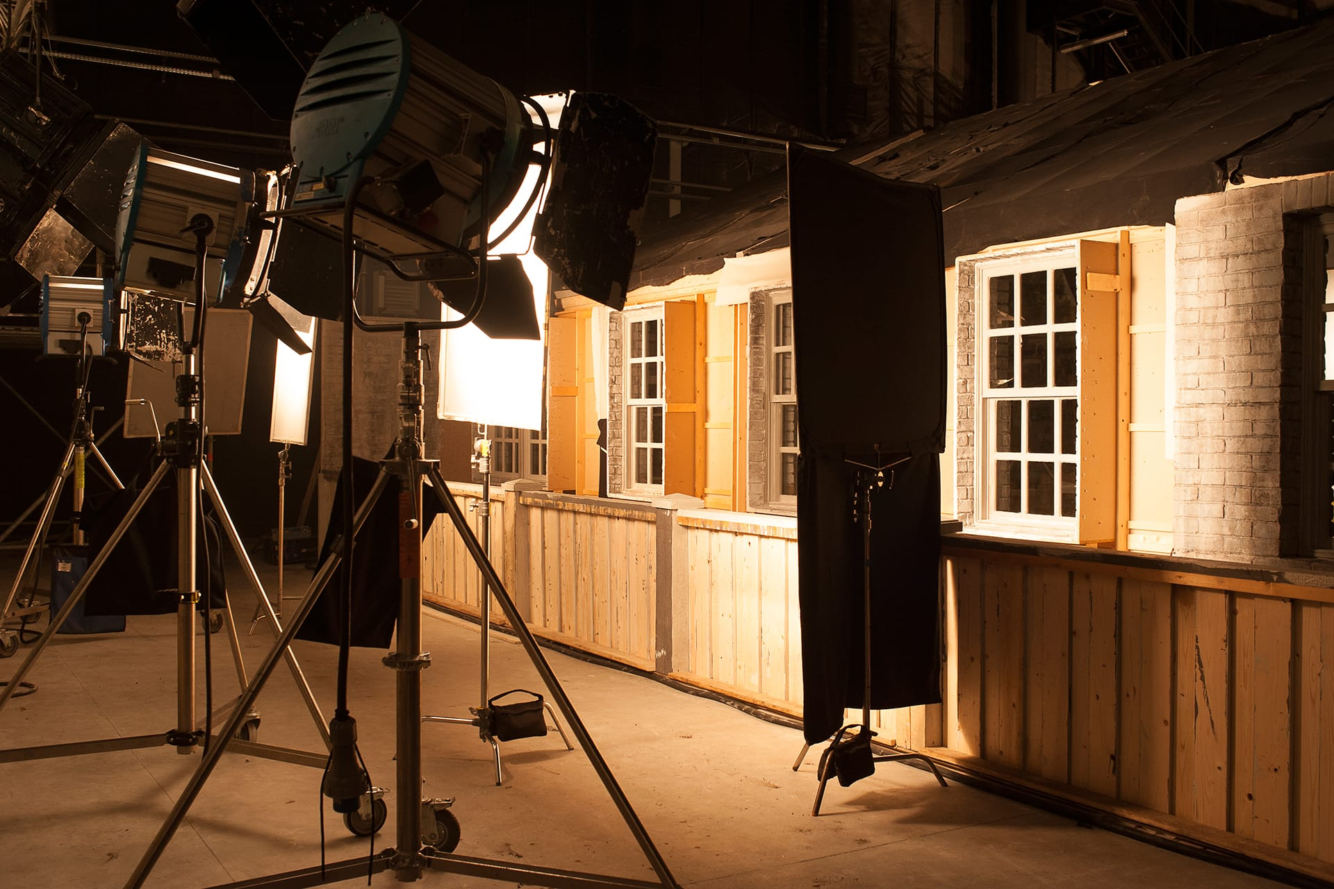Getting the lighting just right for the Camp X set.