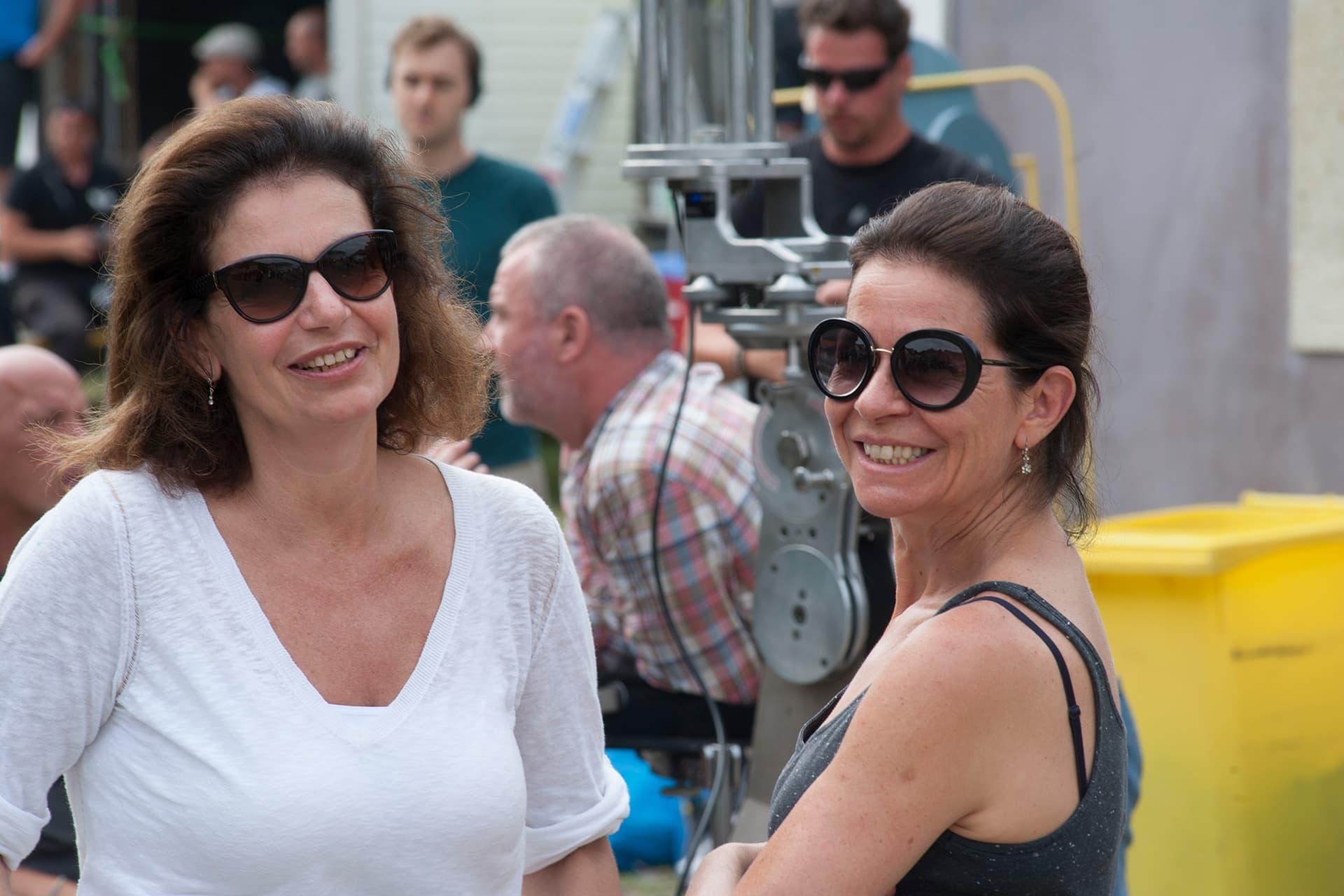 Co-producer Ildikó Kemény with Costume Designer Andrea Flesch on the set of X Company Season 3 in Budapest, Hungary.