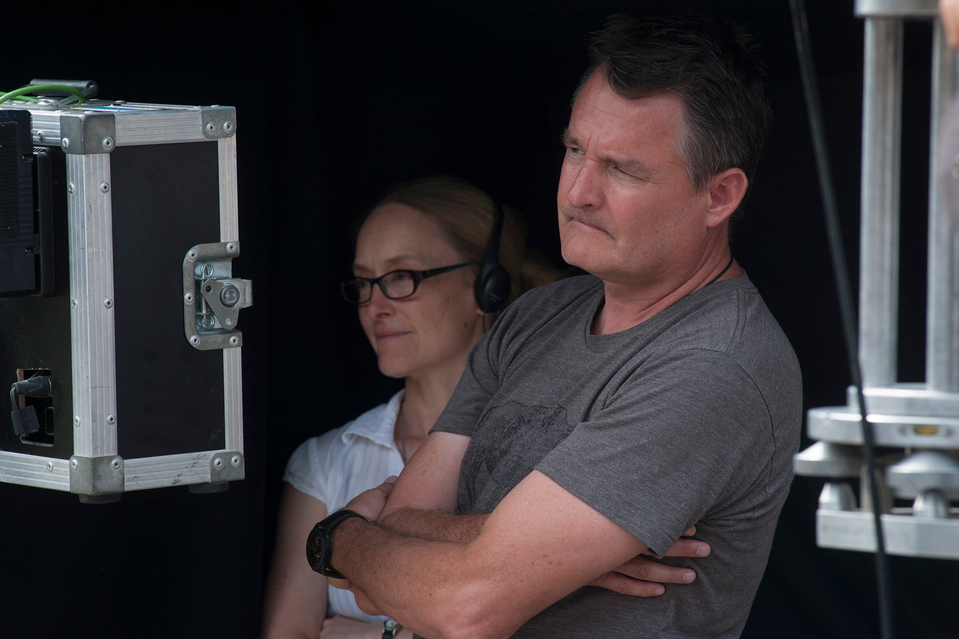 Co-creator and Executive Producer Stephanie Morgenstern with Director Grant Harvey on the set of X Company Season 3 in Budapest, Hungary.