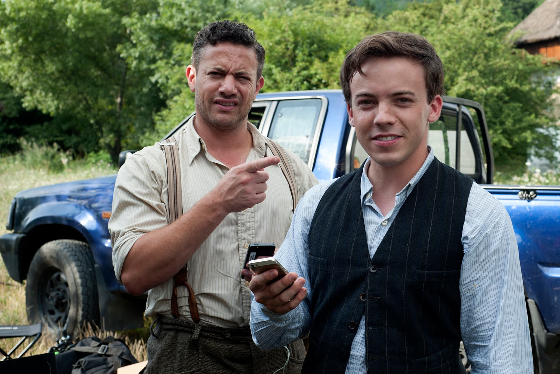 Warren Brown (Neil) and Connor Price (Harry) on the set of X Company Season 3 in Budapest, Hungary.