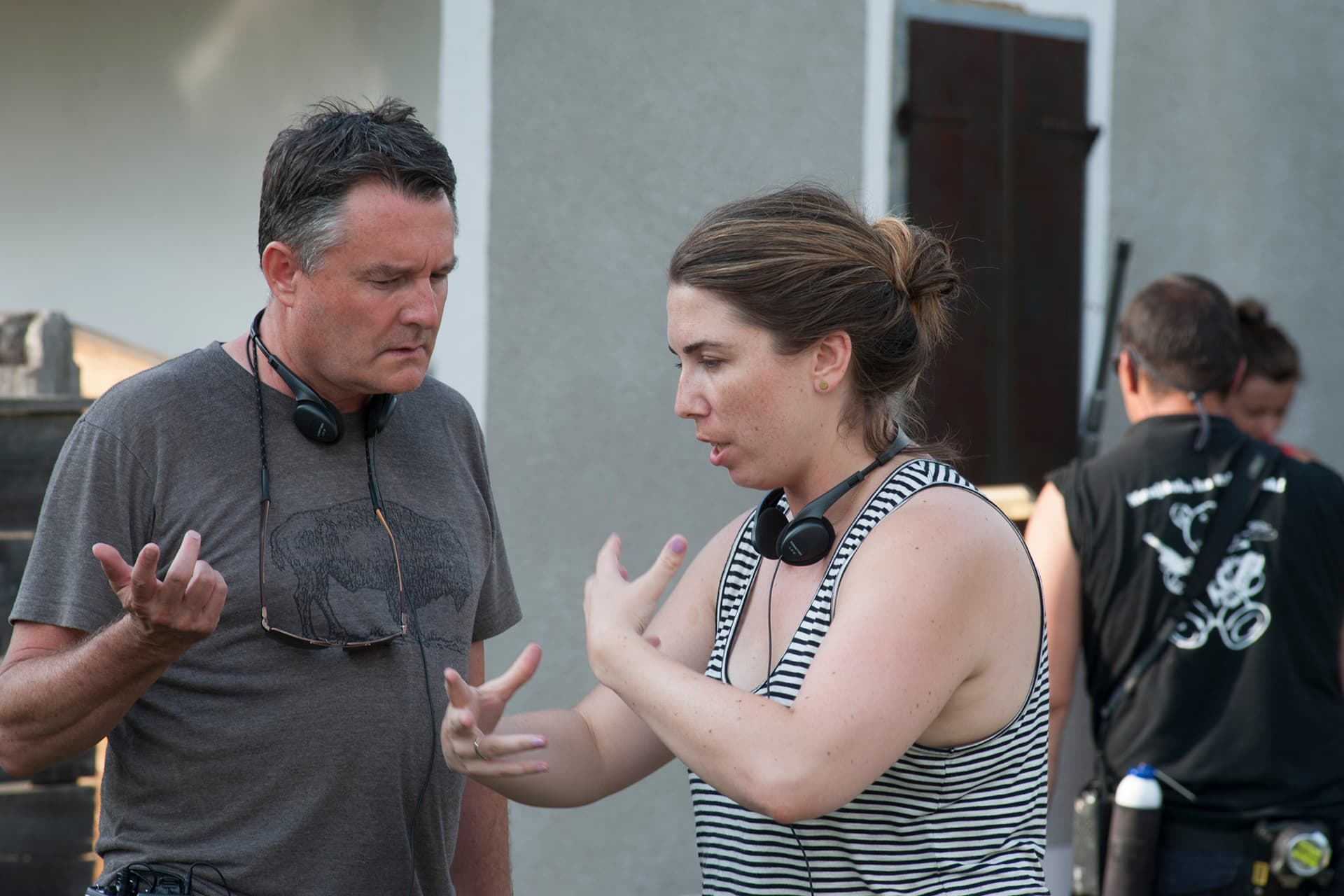 Director Grant Harvey with writer and Co-Executive Producer Sandra Chwialkowska on the set of  X Company Season 3 on location in Budapest, Hungary.