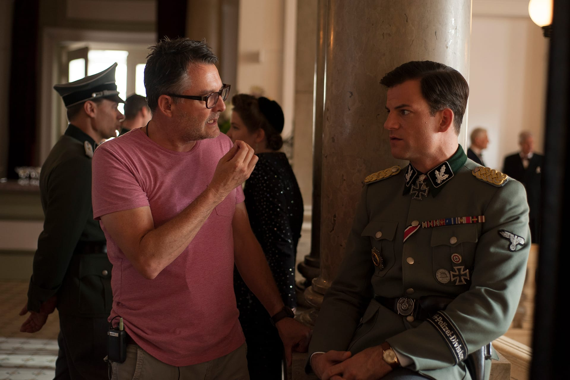Director Grant Harvey with Torben Liebrecht (Faber) on the set of X Company Season 3 shooting in Budapest, Hungary.