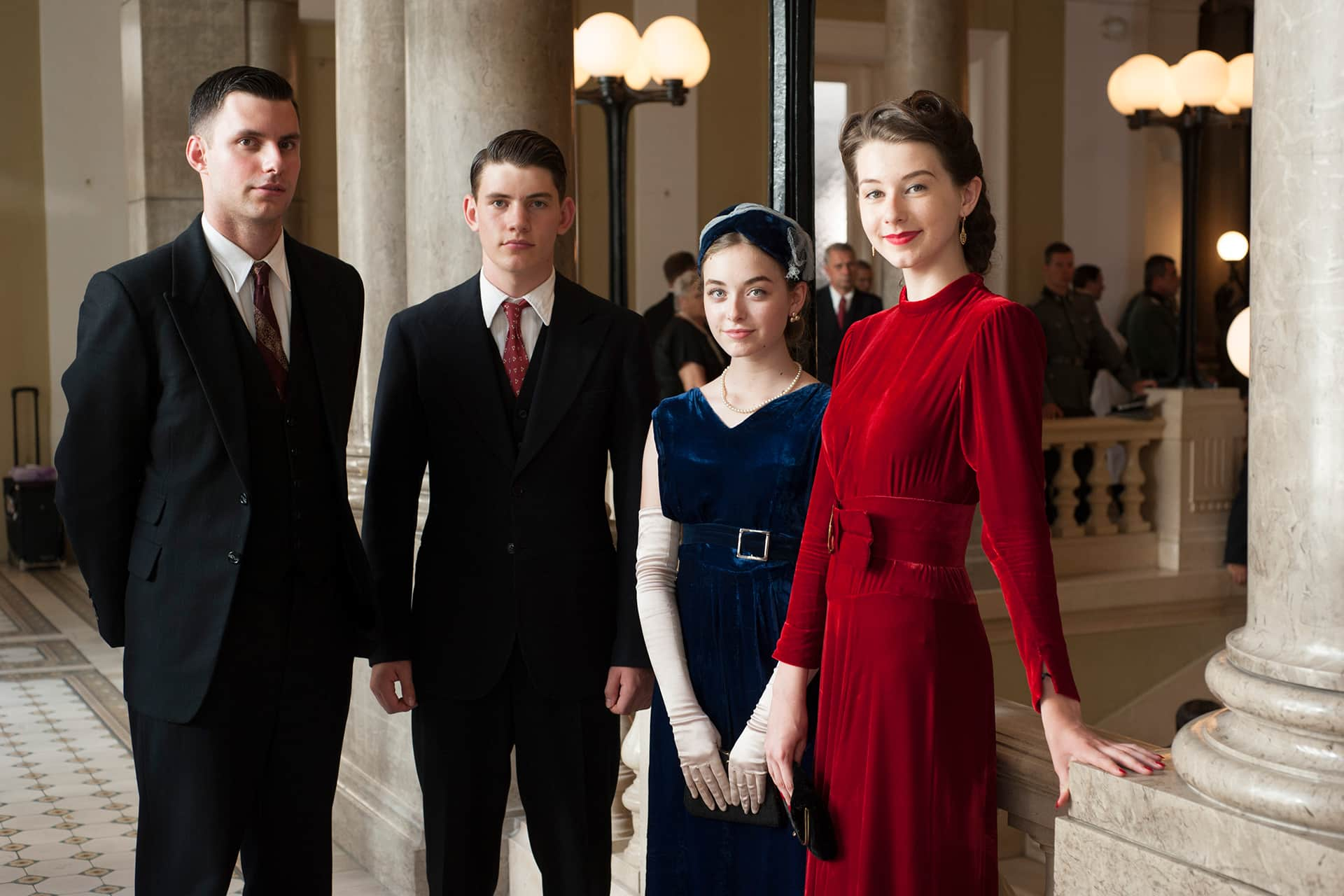 Background performers on the set of X Company Season 3.