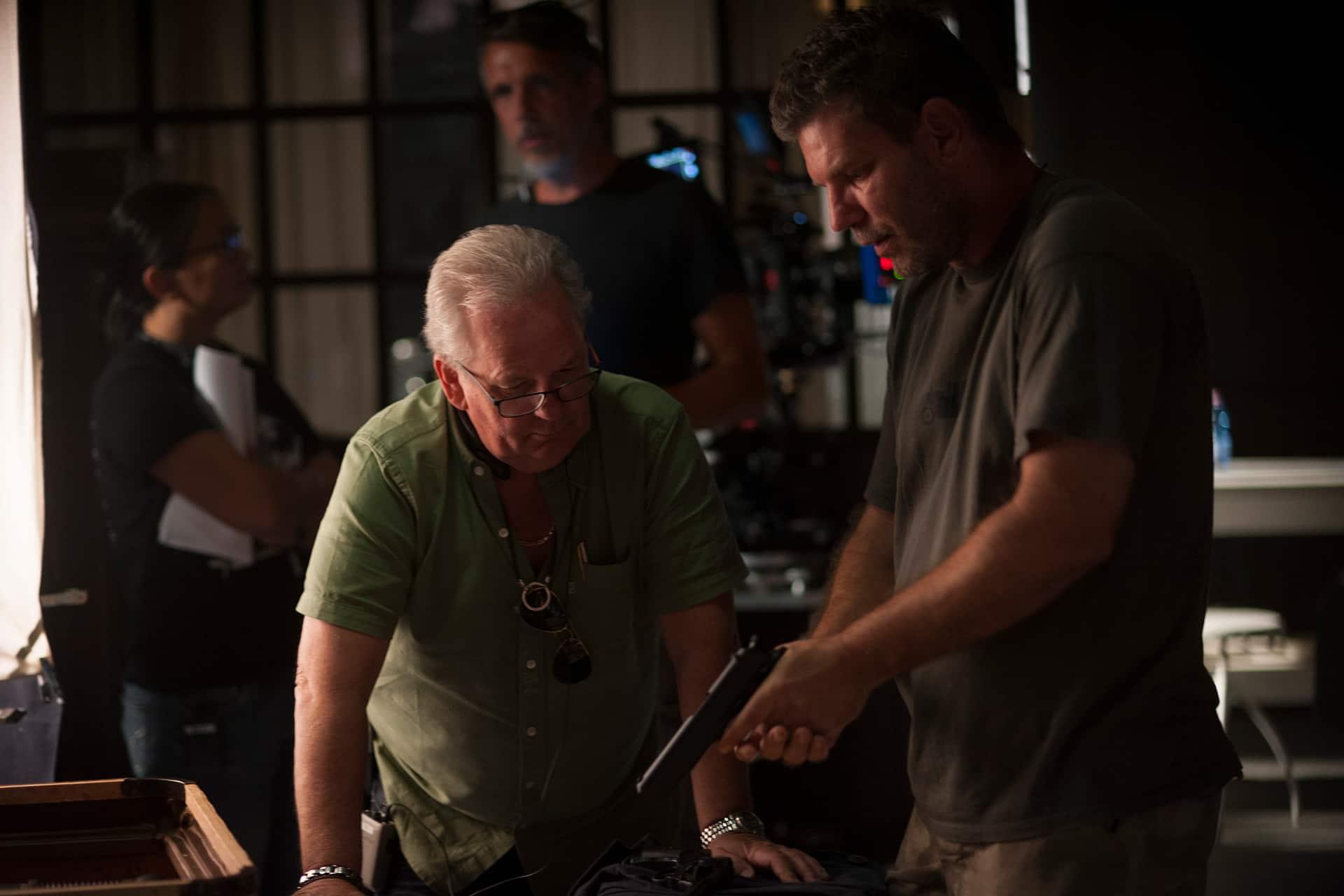 Producer John Calvert with Supervising Armourer Zoltán Bus on the set of X Company Season 3.