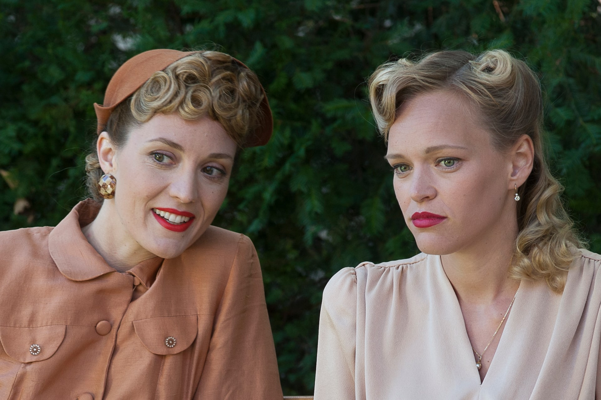 Left, Evelyne Brochu as Aurora and right, Livia Matthes as Sabine.