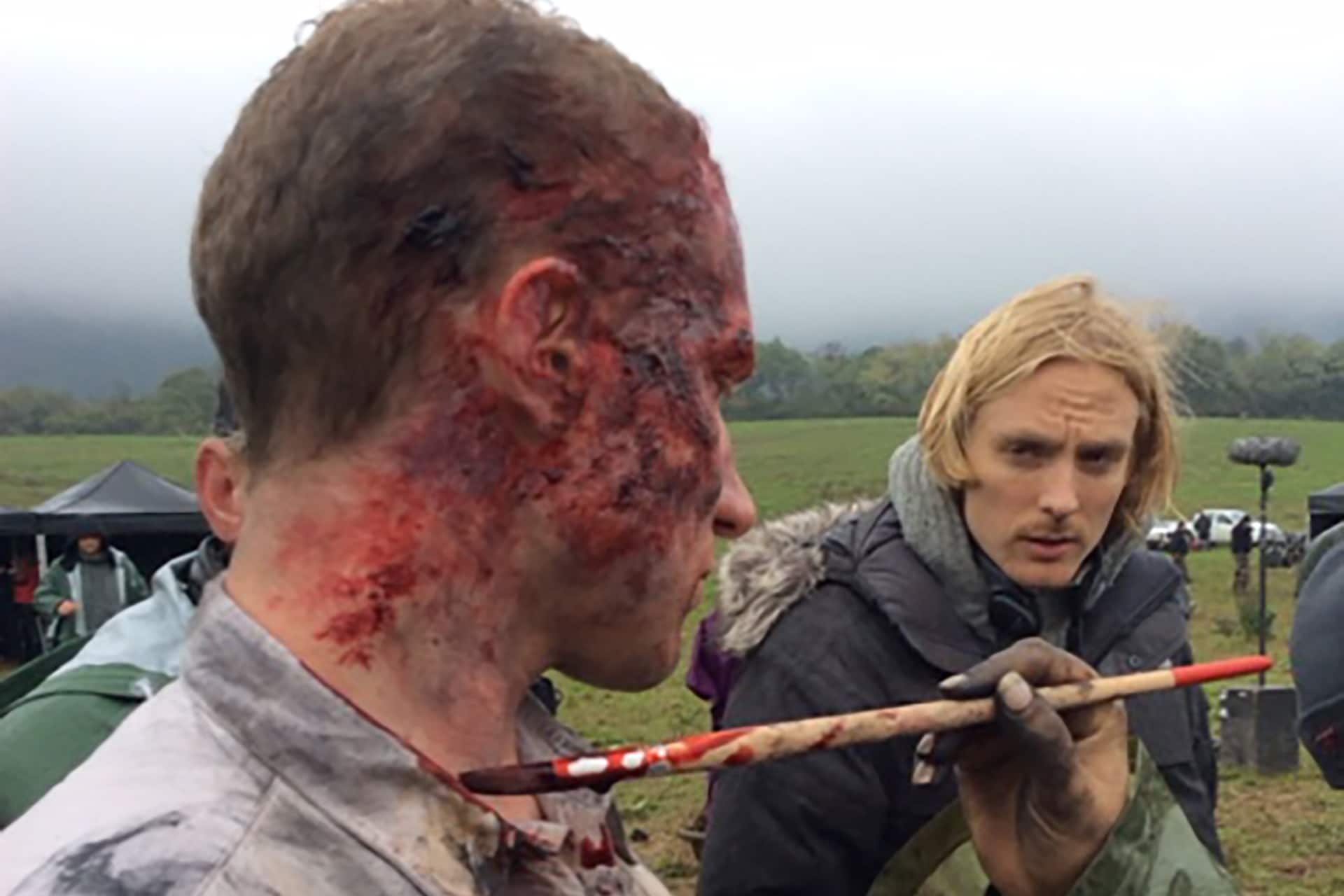 Jamie Machlachlan as George Stirling, left, and Director Jamie Stone film a scene for Episode 209.